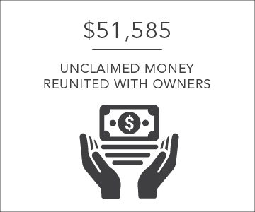 $51565 unclaimed money reunited with owners per day