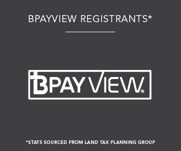 BPAYVIEW Registrants, statistics sourced from land tax planning group.